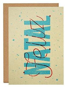 Cartão Natal Lettering - amarelo