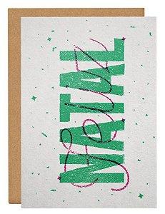 Cartão Natal Lettering - verde