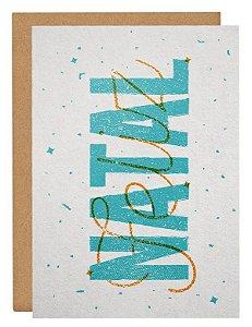 Cartão Natal Lettering - azul