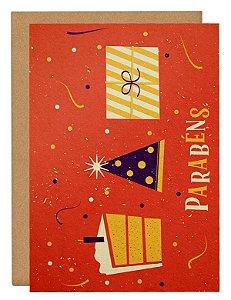 Cartão Vai ter bolo - laranja