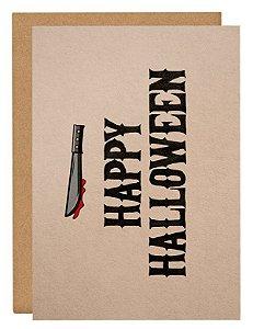 Cartão Happy Halloween faca