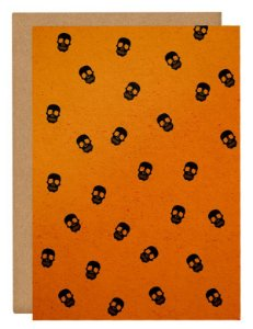 Cartão Halloween Caveiras - laranja