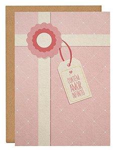 Cartão Contém amor - rosa