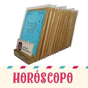 Kit Expositor de Balcão com 30 Cartões Comemorativos de Horóscopo
