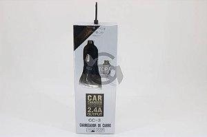 Carregador Veicular - 2 Entradas - 2.4 AMP - Iphone