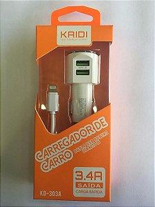 Carregador Veicular - Carga Rápida - 3.4 AMP - Kaidi  Iphone