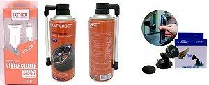 Kit acessorios motorista top (carregador com cabo kaidi iphone, suporte Lelong  e reparador de pneu)