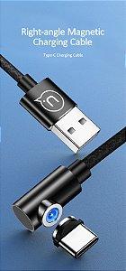 USAMS US-SJ354 U54 TIPO-C USB  carregamento Magnetico cabo de dados COR PRETO