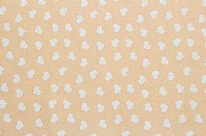 Tricoline Mini Corações Brancos Fundo Salmão ( 0,50 m x 1,40 m )