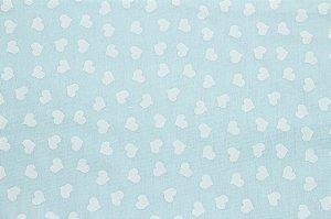 Tricoline Mini Corações Brancos Fundo Água ( 0,50 m x 1,40 m )