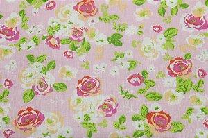 Tricoline Floral fundo Rosa ( 0,50 m x 1,40 m )