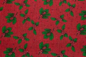Tricoline Visco Natalino E Estrelas Fundo Vermelho  ( 0,50 m x 1,40 m )
