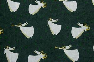 Tricoline Anjos Natalinos Fundo Verde  ( 0,50 m x 1,40 m )