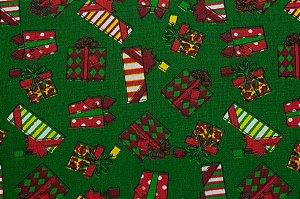 Tricoline Presentes De Natal Fundo Verde ( 0,50 m x 1,40 m )
