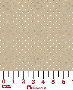 Tricoline Poá Branco Fundo Bege Círculo 326003 Cor 1606 ( 0,50 m x 1,40 m )