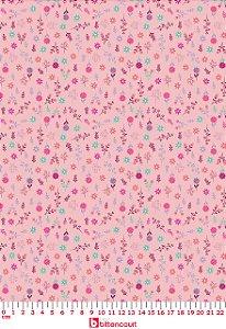 Tricoline Florzinha Fundo Rosa Círculo 325244 - cor 1536 ( 0,50 m x 1,40 m )