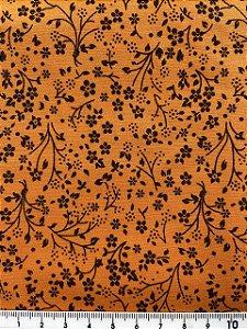 Tricoline Floral Preto Com Fundo Laranja Bittencourt ( 0,50 m x 1,40 m )