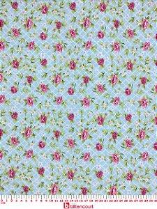 Tricoline Floral Rosa Com Fundo Azul Geométrico São José Evangelista ( 0,50 m x 1,40 m )