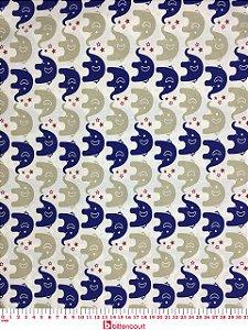 Tricoline Elefante Azul Marinho e Bege Caldeira ( 0,50 m x 1,40 m )