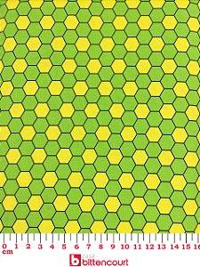 Tricoline Geométrico Verde e Amarelo Fernando Maluhy ( 0,50m x 1,40 m )