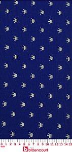 Tricoline Coroa Dourada Fundo Azul Marinho Fernando Maluhy ( 0,50 m x 1,40 m )