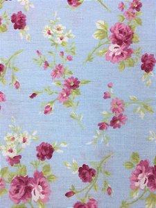 Tricoline Floral Rosa Fundo Azul Bebê Caldeira  ( 0,50 m x 1,40 m )