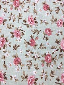 Tricoline Floral Rosa Fundo Verde Caldeira ( 0,50 m x 1,40 m )
