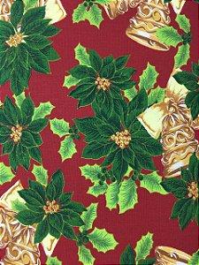Tricoline Floral Natalino com Sinos ( 0,50 m x 1,40 m )