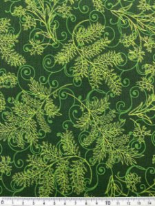 Tricoline Ramos com Glitter Dourado Fundo Verde ( 0,50 m x 1,40 m )