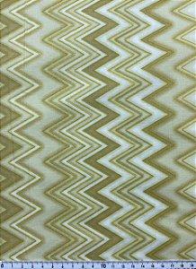 Tricoline Chevron com Glitter Dourado Fundo Bege ( 0,50 m x 1,40 m )