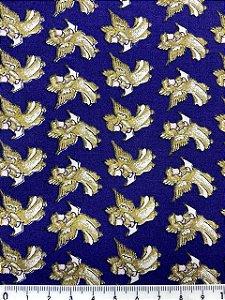 Tricoline Anjos Natalinos Fundo Azul  Marinho ( 0,50 m x 1,40 m )