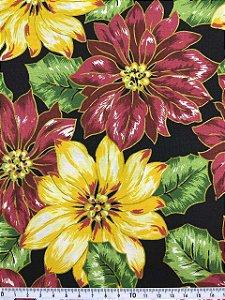 Tricoline Floral com Glitter Misto Natalino com Fundo Preto ( 0,50 m x 1,40 m )
