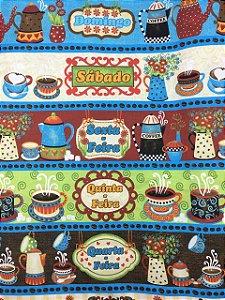 Tricoline Café Dias da Semana Barrado 370223 cor 2153 Círculo ( 0,50 m x 1,40 m )