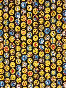 Tricoline Emojis Fundo Preto ( 0,50 m x 1,40 m )