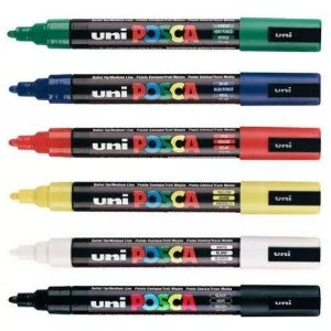 KIT 6 Canetas Posca PC-5M 0.7 mm Principais Cores