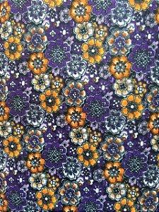 Feltro Estampado Floral Roxo Santa Fé  ( 0,50 m x 1,40 m )