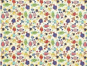 Tricoline Peixes Coloridos Dohler ( 0,50 m x 1,40 m )