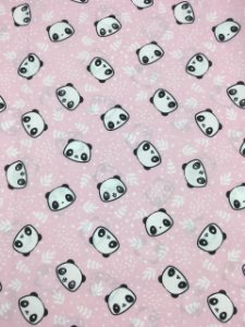 Tricoline Pandas fundo rosa bebê  ( 0,50 m x 1,40 m )