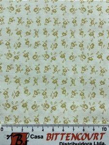 Tricoline florzinha bege claro fundo off ( 0,50 m x 1,40 m )