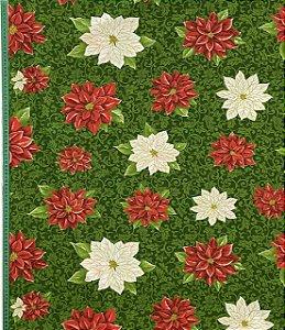 Tricoline Floral Natalino com Fundo Verde Círculo ( 0,50 m x 1,40 m )