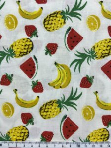 Tricoline MISTO Frutas fundo Branco ( 0,50 m x 1,50 m )