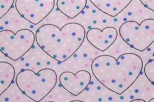 Tricoline Corações e Poás Fundo Rosa ( 0,50 m x 1,40 m )