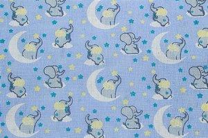 Tricoline Noite Dos Elefantinhos Fundo Azul ( 0,50 m x 1,40 m )