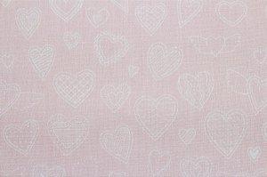 Tricoline Corações Fundo Rosa Bebê ( 0,50 m x 1,40 m )