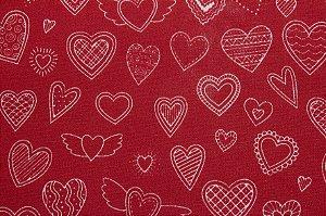 Tricoline Corações Fundo Vermelho ( 0,50 m x 1,40 m )