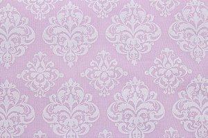 Tricoline Arabesco fundo Rosa Bebê ( 0,50 m x 1,40 m )