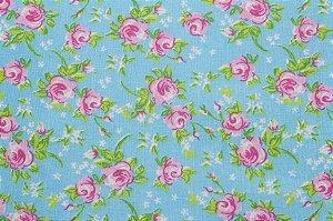 Tricoline Floralzinho fundo Tiffany ( 0,50 m x 1,40 m )