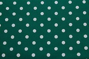 Tricoline Bolinhas Brancas fundo Verde ( 0,50 m x 1,40 m )