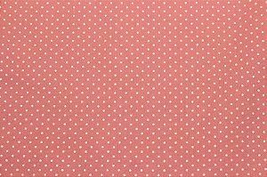 Tricoline Poá Branco fundo Rosa Goiaba ( 0,50 m x 1,40 m )