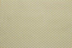 Tricoline Poá Branco fundo Bege ( 0,50 m x 1,40 m )